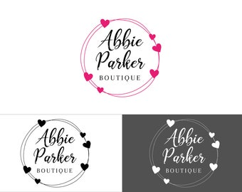 Premade Logo, Logo and Branding, Business Logo, Wreath Logo, Florist Logo, Boutique Logo, Feminine Logo, Hearts Logo