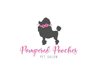 Dog Logo, Pet Logo, Dog Grooming Logo, Logo and Branding, Premade Logo, Pet Photography Logo, Pet Supplies Logo, Poodle Logo, Bow Logo