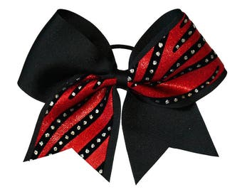 Black and Red Streamers Cheer Hair Bow