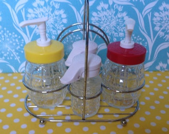 Retro ketchup and mustard dispenser, glass ketchup and mustard, atomic, condiment caddy, condiment holder, gemco, glamping, retro picnic