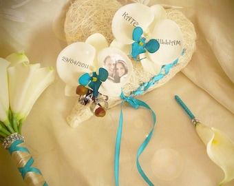 Turquoise Orchid ring bearer artificial heart sisal to customize