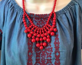 Fiesta  Strawberrry Red Bubble Bib Beaded Cascade Chandelier Statement Necklace