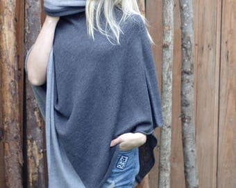Women Poncho gray Chunky poncho dark gray turtleneck poncho Wool Cape women's Coat Bordeaux Feminine gray exclusive hippie style