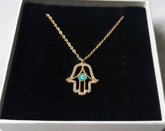 Mums Gift 24ct Gold Hamsa Necklace Hand Of Fatima Necklace Evil Eye Necklace Womens Gift Delicate Necklace Gift for Women