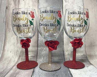 Beauty And The Beast Wine Glass Belle Wine Glass Disney