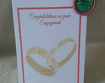golden rings engament, wedding or anniversary card