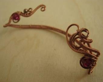 copper ear wrap, wire wrapped ear wrap, copper jewelry, fantasy jewelry, fantasy ear wrap, copper earring, wire copper ear wrap - FIRE MAGE