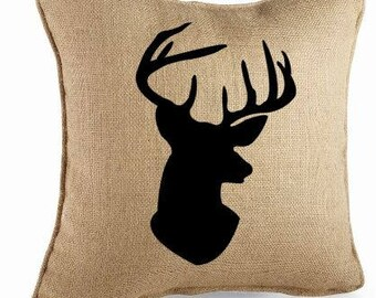 Deer Pillow-Stag Pillow-Deer Head Pillow-Rustic Burlap Pillow-Burlap Pillow-Burlap Throw Pillow-Decorative Pillow-Farmhouse Pillow