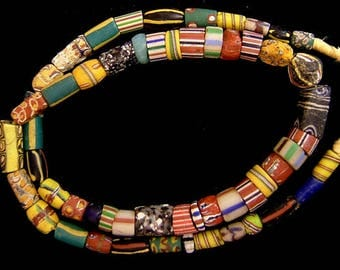 """Vintage Venetian African trade mixed """"good"""" bead strand, 28 inches, 12x25 mm ."""