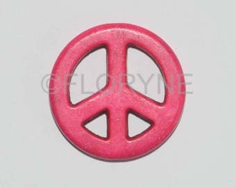 Pearl charm symbol of Peace and Love in stone natural Fuchsia