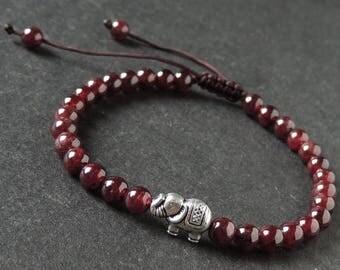 ON SALE NOW Men's Women Garnet Adjustable Braided Bracelet Tibetan Silver Elephant Bead DiyNotion T288