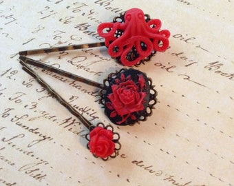 Real Red Octo And Rose Hair Clips