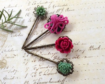 Green Flora And Raspberry Octo And Black Cherry Flower Hair Clips
