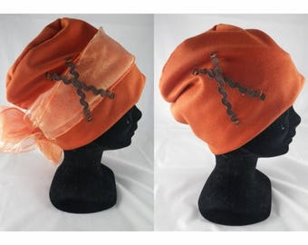 Bas002 - Orange chemo hat with removable orange scarf