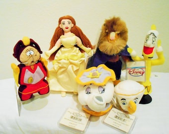 "SALE! Disney ""Beauty And The Beast""Adorable 6 Piece Set Beanbag Plush/Belle,Beast,Mrs. Potts,Chip,Lumiere,And Cogsworth/All New With Tags!"