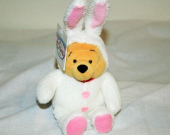 Disney Easter Bunny Pooh Dressed In All White With Ears and A Fluffy White Cottontail , 8 Inches Tall And Japan Tags! Great Gift!