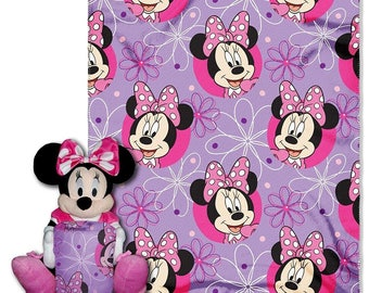 "Minnie Mouse ""Minnie Bowtique"" Character and Throw Set Hugger Set - Personalized"