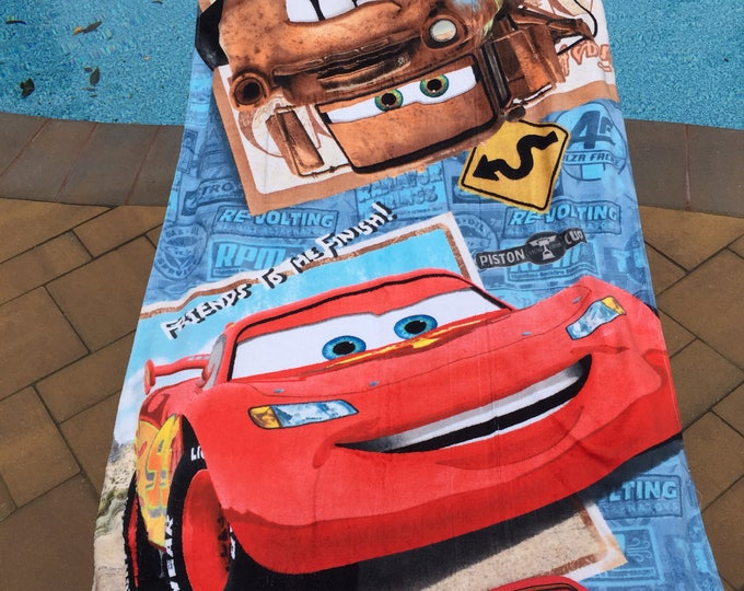 Disney Cars Bath Towel and Wash Mitt Set - Personalized toddler size Beach Towel