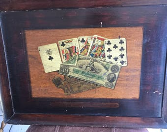 "Antique 1890s to 1910 Geo Wieldemann Beer Co. All wood sign ""A Royal Flush"""