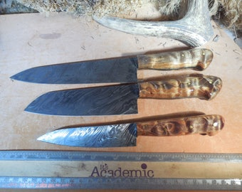 Custom Damascus Chef Knife Set With Stabilized curaly Maple wood Handles