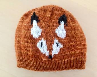 Knitted fox beanie