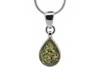 Minimalist Amber Pendant - Teardrop Necklace - Amber Drop Pendant - Amber Necklace - Silver Teardrop Necklace - Teardrop Pendant -198P1g