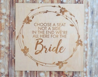 Wedding Aisle Sign. Laser engraved wedding signs. Choose a set not a side