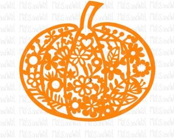 Pumpkin svg/png/dxf cricut/silhouette digital cutting file/Halloween svg/halloween cut/pumpkin svg/trick or treat/floral pumpkin svg/HTV