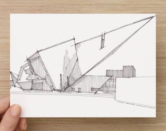 Ink Sketch of Denver Art Museum - Drawing, Art, Pen and Ink, Architecture, Libeskind, Design, Urbansketcher, 5x7, 8x10, Print