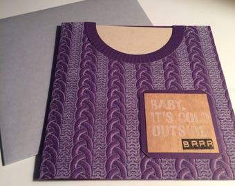 Handmade 6x6 Square Embossed Inked Cable-Knit Sweater Card, with Baby It's Cold Outside on Front, Kraft, Purple, Cream, Winter, Snuggle Up