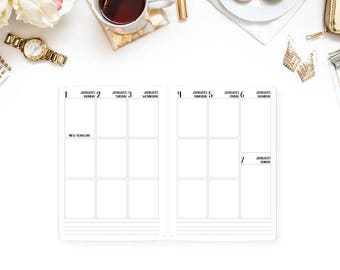 2018 Weekly Vertical Traveler's Notebook Insert refill - 3 box per day - Wide size, Composition size - Wo2P - week on two pages