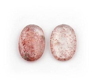 Mega Sale 2 PCS Natural Moss Amethyst Cabochon Matched Pair - Rare Moss Amethyst Rose Cut Loose Gemstones 18x12mmx19x12mm LGS111