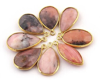 Valentine Day 8 Pcs Pink Opal 24k Gold Plated Faceted Pear Shape Single Bail Pendant - 22mmx15mm-27mmx15mm BC1131