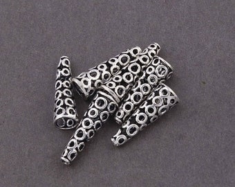 March Sale 6  Pcs Fine Quality 925 Sterling Silver Bali Beads  - Metal Beads -Antique Silver Long Cone Beads 19mmx6mm SS1793