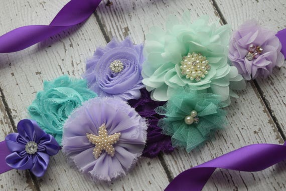 Maternity sash belt, Shades of purple  mint Sash, beach sash,  flower Belt, maternity sash, baby shower gift