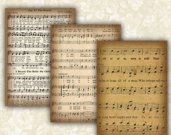 SALE 50% Vintage Music sheet Cards Digital Collage Sheet Printable 2.5x3.5 inch size Images Gift Tags Jewelry Holders Scrapbook ATC ACEO Car