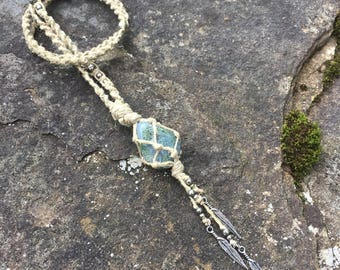 Extra Long Moss Agate Hemp Necklace
