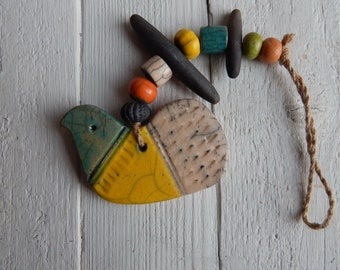 "Ceramic pendant, mobile ""Bird"" art ceramics, decor for interior, original gift, housewarming gift, ceramics Raku, art, ceramic beads, marine"