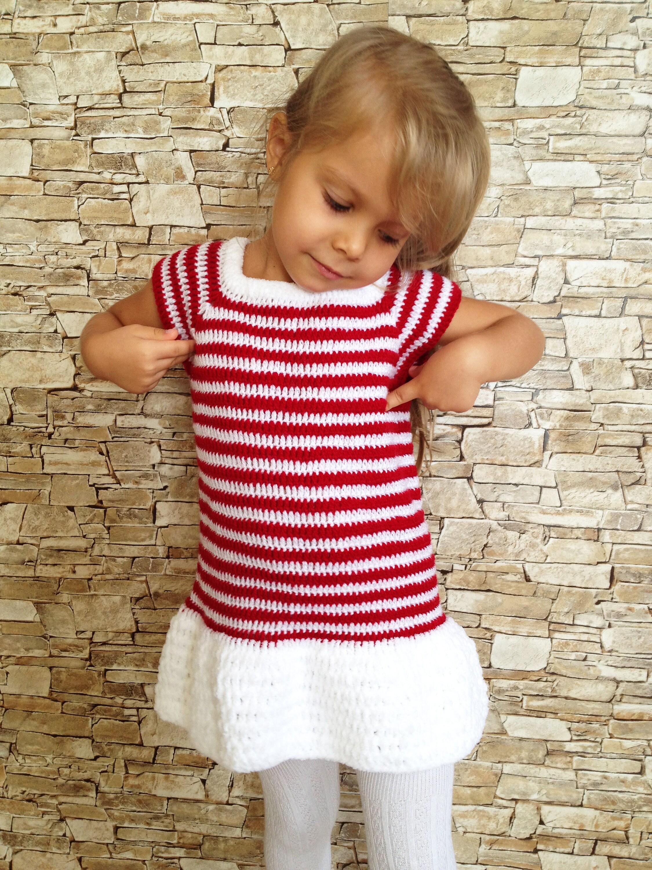Crochet Christmas toddler dress Santa Claus baby crochet dress White