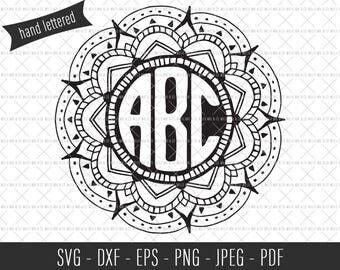 Mandala Monogram SVG, Monogram Cut File, Mandala Cut File, Personalized Mandala Monogram, SVG Commercial License, Commercial Cut Files