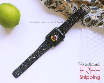Apple Watch Band 38mm Bling Apple Watch Band 42mm SERIES 3 Series 1 & 2 Black Glitter  iWatch Band Wearable Tech Jewelry Christmas Gifts
