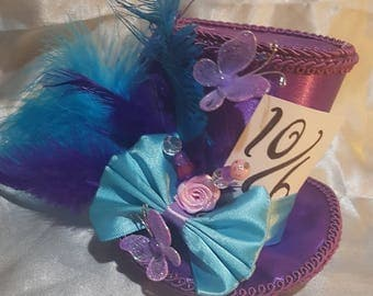 Mad hatter mini top hat purple turquoise, Alice in wonderland, tea party