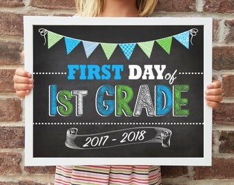 "1st Grade, Back to School Poster, DIGITAL Printable File, FIRST Day & LAST Day includ. 4 Sizes: 8x10"", 11x14"", 16x20"", 20x30"" includ."