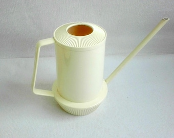 Vintage Plastic Watering Can, Made in W. Germany by EMSA Plastic, Off White. 1970's 1980's