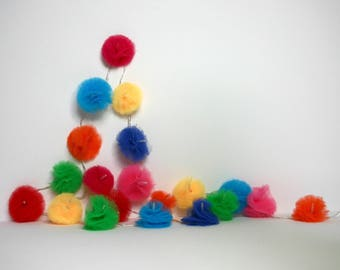 20 Led - Light string of multicolored tulle PomPoms