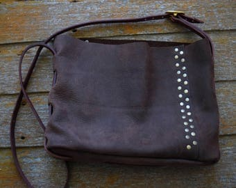 Handmade Brown Leather Tote Bag with Bordeaux Shoulder Strap - Heavy Duty