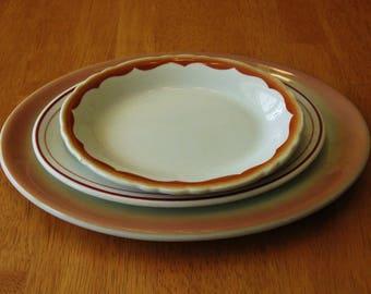 SHENANGO PLATTERS & Sterling Restaurant Ware China Small Medium Large Heavy Oval Platter Plate Vintage Lot of 3