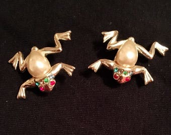 Frog Scattered Brooches / Pins, Pair