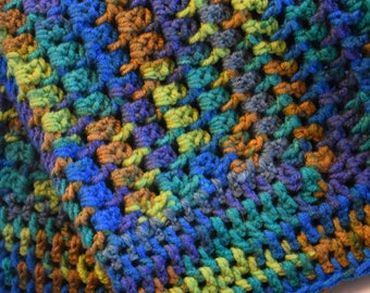 Colorful Dog Mat for Small Dogs -- Crochet Pet Blanket in Blues, Greens, & Browns