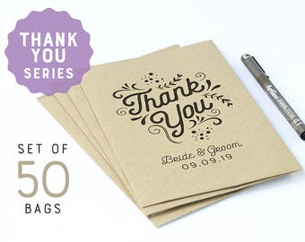 Thank you favors 50 brown flat paper bags, personalized wedding party favor bags, personalized favor bags, kraft paper bags, party favors